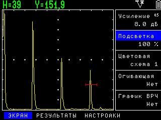 Ультразвуковой дефектоскоп УД2В-П46. Вид экрана